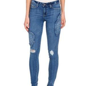 Jessica Simpson Kiss Me Patched Denim Jeans:
